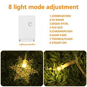 LED Lichtervorhang, Vegena 3,5M 96 LED Schneeflocken Lichterketten LED String Lights LED Lichterkettenvorhang Weihnachten Beleuchtung EU Stecker 8 Flimmer-Modi für Innen Außen - 5