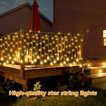 LED Lichtervorhang, Vegena 3,5M 96 LED Schneeflocken Lichterketten LED String Lights LED Lichterkettenvorhang Weihnachten Beleuchtung EU Stecker 8 Flimmer-Modi für Innen Außen - 6