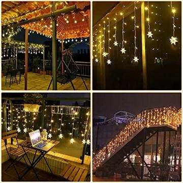 LED Lichtervorhang, Vegena 3,5M 96 LED Schneeflocken Lichterketten LED String Lights LED Lichterkettenvorhang Weihnachten Beleuchtung EU Stecker 8 Flimmer-Modi für Innen Außen - 7