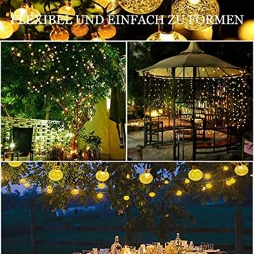 Lezonic Solar Lichterkette aussen, 50LED 23 ft 8 Modi Solar Kristallkugeln wasserdicht Außen/Innen Lichter Beleuchtung für Garten, Balkon, Bäume, Hochzeiten, Partys, Weihnachten (warmweiß) - 2