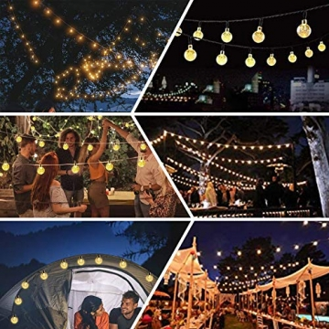 Lezonic Solar Lichterkette aussen, 50LED 23 ft 8 Modi Solar Kristallkugeln wasserdicht Außen/Innen Lichter Beleuchtung für Garten, Balkon, Bäume, Hochzeiten, Partys, Weihnachten (warmweiß) - 4