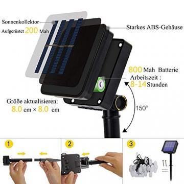 Lezonic Solar Lichterkette aussen, 50LED 23 ft 8 Modi Solar Kristallkugeln wasserdicht Außen/Innen Lichter Beleuchtung für Garten, Balkon, Bäume, Hochzeiten, Partys, Weihnachten (warmweiß) - 5