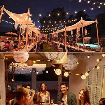 Lezonic Solar Lichterkette aussen, 50LED 23 ft 8 Modi Solar Kristallkugeln wasserdicht Außen/Innen Lichter Beleuchtung für Garten, Balkon, Bäume, Hochzeiten, Partys, Weihnachten (warmweiß) - 7