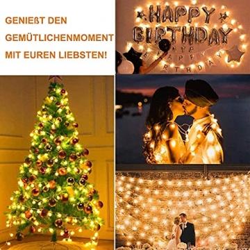 Lichterkette Außen 7.2M 50 LED Warmweiße Lichterkette Aussen mit USB Stecker 8 Modi Wasserdichte Kugel Lichterkette für Innen Dekoration Feste Garten Party Außen Balkons Weihnachten Terrasse - 5