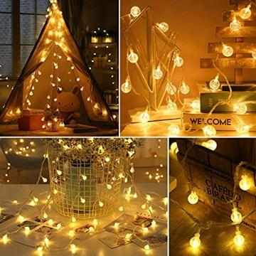 Lichterkette Außen 7.2M 50 LED Warmweiße Lichterkette Aussen mit USB Stecker 8 Modi Wasserdichte Kugel Lichterkette für Innen Dekoration Feste Garten Party Außen Balkons Weihnachten Terrasse - 7
