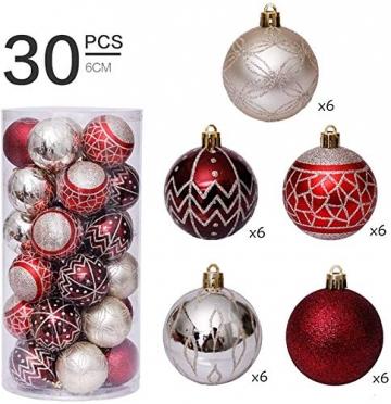 Linarun 30 Pcs 6cm Weihnachtsbaumkugeln, Weihnachtsbaumschumuck bruchsicher Plastik Weihnachtskugeln, wiederverwendbar Christbaumkugeln Baumschmuck Deko Anhänger (Rot+Gold) - 2