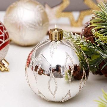 Linarun 30 Pcs 6cm Weihnachtsbaumkugeln, Weihnachtsbaumschumuck bruchsicher Plastik Weihnachtskugeln, wiederverwendbar Christbaumkugeln Baumschmuck Deko Anhänger (Rot+Gold) - 3