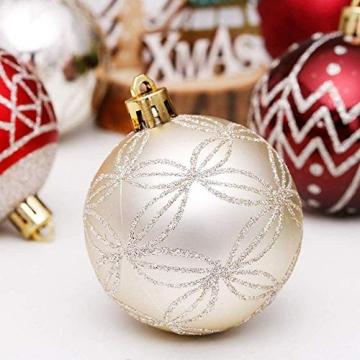 Linarun 30 Pcs 6cm Weihnachtsbaumkugeln, Weihnachtsbaumschumuck bruchsicher Plastik Weihnachtskugeln, wiederverwendbar Christbaumkugeln Baumschmuck Deko Anhänger (Rot+Gold) - 4