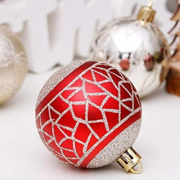 Linarun 30 Pcs 6cm Weihnachtsbaumkugeln, Weihnachtsbaumschumuck bruchsicher Plastik Weihnachtskugeln, wiederverwendbar Christbaumkugeln Baumschmuck Deko Anhänger (Rot+Gold) - 5