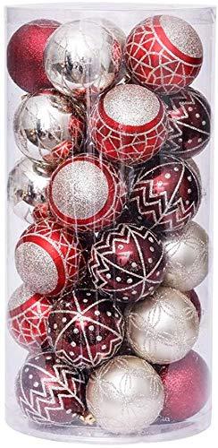 Linarun 30 Pcs 6cm Weihnachtsbaumkugeln, Weihnachtsbaumschumuck bruchsicher Plastik Weihnachtskugeln, wiederverwendbar Christbaumkugeln Baumschmuck Deko Anhänger (Rot+Gold) - 1