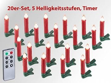 Lunartec Baumkerzen: 20er-Set LED-Weihnachtsbaum-Kerzen mit IR-Fernbedienung, rot (Kabellose Christbaumkerzen) - 2