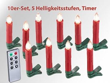 Lunartec Baumkerzen: 20er-Set LED-Weihnachtsbaum-Kerzen mit IR-Fernbedienung, rot (Kabellose Christbaumkerzen) - 3