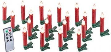 Lunartec Baumkerzen: 20er-Set LED-Weihnachtsbaum-Kerzen mit IR-Fernbedienung, rot (Kabellose Christbaumkerzen) - 1