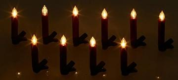 Lunartec Baumkerzen: 20er-Set LED-Weihnachtsbaum-Kerzen mit IR-Fernbedienung, rot (Kabellose Christbaumkerzen) - 8