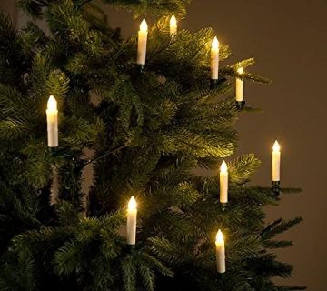 Lunartec Christbaumkerzen: 10er-Set LED-Weihnachtsbaum-Kerzen mit IR-Fernbedienung, Timer, weiß (Weihnachtsbaumbeleuchtung kabellos) - 3