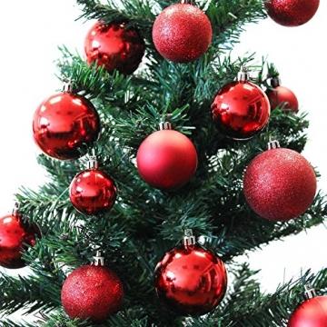 Multistore 2002 70 Stück Weihnachtsbaumkugeln inklusive Aufbewahrungsbox Rot Ø4/5/6cm Christbaumkugeln Baumkugeln Tannenbaumschmuck Weihnachtsdekoration Kunststoffkugeln Tannenbaumkugeln - 2