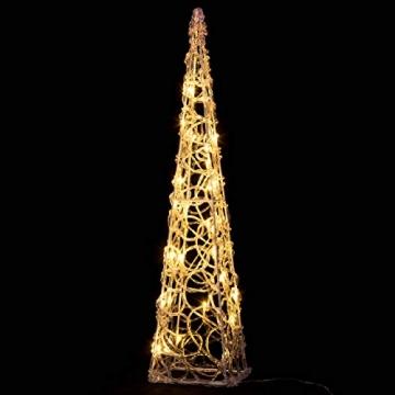 Nipach LED Pyramide Lichterkegel – Beleuchtung für Weihnachten innen außen – Acryl-Figur Batterie & Timer – 30 Leuchten warm weiß 60 cm hoch - 2