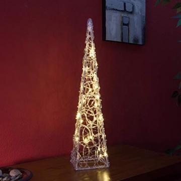 Nipach LED Pyramide Lichterkegel – Beleuchtung für Weihnachten innen außen – Acryl-Figur Batterie & Timer – 30 Leuchten warm weiß 60 cm hoch - 6