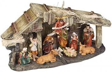 PEARL Krippen: Weihnachtskrippe aus Polyresin mit 11 handbemalten Figuren (Krippe Weihnachten) - 2