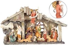 PEARL Krippen: Weihnachtskrippe aus Polyresin mit 11 handbemalten Figuren (Krippe Weihnachten) - 1