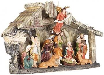 PEARL Krippen: Weihnachtskrippe aus Polyresin mit 11 handbemalten Figuren (Krippe Weihnachten) - 6