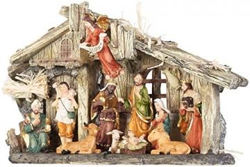 PEARL Krippen: Weihnachtskrippe aus Polyresin mit 11 handbemalten Figuren (Krippe Weihnachten) - 9