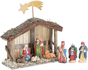 PEARL Weihnachtskrippe: Weihnachts-Krippe (10-teilig) mit handbemalten Porzellan-Figuren (Weihnachtskrippen Figuren) - 2