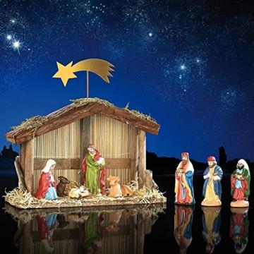 PEARL Weihnachtskrippe: Weihnachts-Krippe (10-teilig) mit handbemalten Porzellan-Figuren (Weihnachtskrippen Figuren) - 3