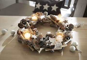 Pureday Adventskranz Shabby - Dekokranz mit Teelichtgläsern - Natur - ca. Ø 38 cm - 3