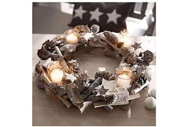Pureday Adventskranz Shabby - Dekokranz mit Teelichtgläsern - Natur - ca. Ø 38 cm - 4
