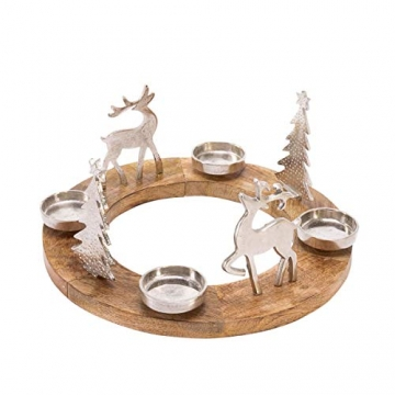 Pureday Weihnachtsdeko - Adventskranz Rentiere - Holz Metall - Braun Silber - ca. Ø 40 cm - 2