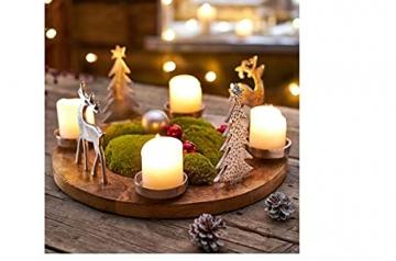 Pureday Weihnachtsdeko - Adventskranz Rentiere - Holz Metall - Braun Silber - ca. Ø 40 cm - 4
