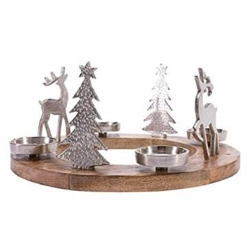 Pureday Weihnachtsdeko - Adventskranz Rentiere - Holz Metall - Braun Silber - ca. Ø 40 cm - 1