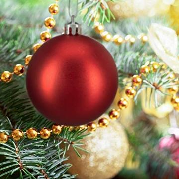Relaxdays Weihnachtskugeln, 100er Set, Weihnachtsdeko, matt, glänzend, glitzernd, Christbaumkugel ∅ 3, 4 & 6 cm, rot, PS, 7 x 6 x 6 cm - 2