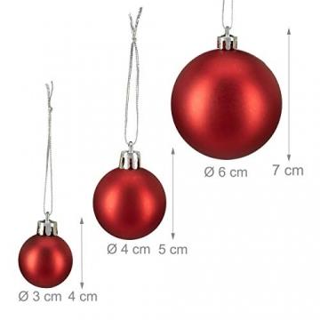 Relaxdays Weihnachtskugeln, 100er Set, Weihnachtsdeko, matt, glänzend, glitzernd, Christbaumkugel ∅ 3, 4 & 6 cm, rot, PS, 7 x 6 x 6 cm - 4