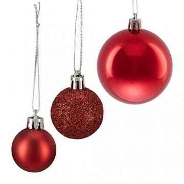 Relaxdays Weihnachtskugeln, 100er Set, Weihnachtsdeko, matt, glänzend, glitzernd, Christbaumkugel ∅ 3, 4 & 6 cm, rot, PS, 7 x 6 x 6 cm - 6
