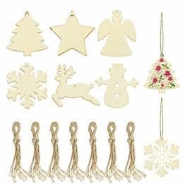 SNAGAROG 60 Stück Holz Deko Anhänger Ornament Holzanhänger Weihnachtsbaum Anhänger Baumanhänger Weihnachten Holz Deko, mit 60 Juteseil, für Weihnachten Weihnachtsbaum DIY Dekoration - 1