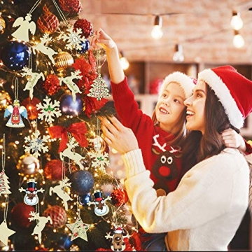 SNAGAROG 60 Stück Holz Deko Anhänger Ornament Holzanhänger Weihnachtsbaum Anhänger Baumanhänger Weihnachten Holz Deko, mit 60 Juteseil, für Weihnachten Weihnachtsbaum DIY Dekoration - 4