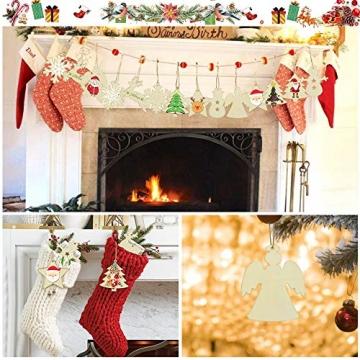 SNAGAROG 60 Stück Holz Deko Anhänger Ornament Holzanhänger Weihnachtsbaum Anhänger Baumanhänger Weihnachten Holz Deko, mit 60 Juteseil, für Weihnachten Weihnachtsbaum DIY Dekoration - 5