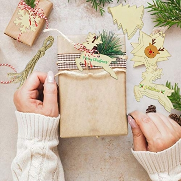 SNAGAROG 60 Stück Holz Deko Anhänger Ornament Holzanhänger Weihnachtsbaum Anhänger Baumanhänger Weihnachten Holz Deko, mit 60 Juteseil, für Weihnachten Weihnachtsbaum DIY Dekoration - 6
