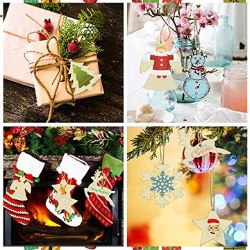 SNAGAROG 60 Stück Holz Deko Anhänger Ornament Holzanhänger Weihnachtsbaum Anhänger Baumanhänger Weihnachten Holz Deko, mit 60 Juteseil, für Weihnachten Weihnachtsbaum DIY Dekoration - 7