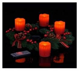 Spetebo Adventskranz mit 4 LED Kerzen und Fernbedienung - roter Weihnachtskranz mit Echtwachskerzen - 1