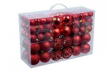 Spetebo Christbaumkugeln im 100er Set - 3 Farben wählbar - Material: Kunststoff (rot) - 1