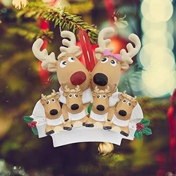 TianWlio Weihnachten Elch Schneemann Weihnachtsbaum Anhänger,Personalisierte DIY Familie Name Weihnachtsschmuck Kit Weihnachtsbaum Anhänger - 2