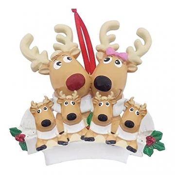 TianWlio Weihnachten Elch Schneemann Weihnachtsbaum Anhänger,Personalisierte DIY Familie Name Weihnachtsschmuck Kit Weihnachtsbaum Anhänger - 4