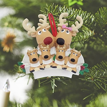 TianWlio Weihnachten Elch Schneemann Weihnachtsbaum Anhänger,Personalisierte DIY Familie Name Weihnachtsschmuck Kit Weihnachtsbaum Anhänger - 5