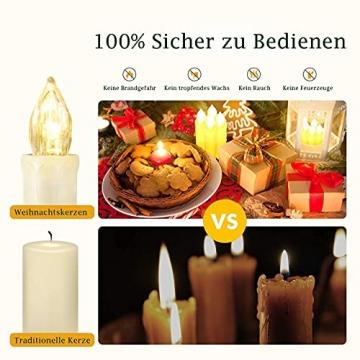 VASEN LED Christbaumkerzen Kabellos mit Fernbedienung Warmweiß Weihnachtsbaumkerzen Flammenlos Weihnachtskerzen 40er [Energieklasse A++] - 3