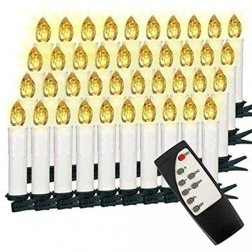 VASEN LED Christbaumkerzen Kabellos mit Fernbedienung Warmweiß Weihnachtsbaumkerzen Flammenlos Weihnachtskerzen 40er [Energieklasse A++] - 1