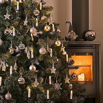 VASEN LED Christbaumkerzen Kabellos mit Fernbedienung Warmweiß Weihnachtsbaumkerzen Flammenlos Weihnachtskerzen 40er [Energieklasse A++] - 6