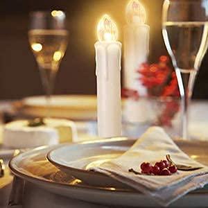 VASEN LED Christbaumkerzen Kabellos mit Fernbedienung Warmweiß Weihnachtsbaumkerzen Flammenlos Weihnachtskerzen 40er [Energieklasse A++] - 7